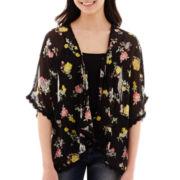 Decree® Short-Sleeve Crochet-Trim Kimono