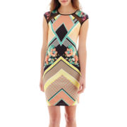 Bisou Bisou® Cap-Sleeve Mixed Media Sheath Dress