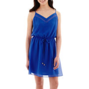 My Michelle® Sleeveless Drawstring-Waist Aztec Print Dress