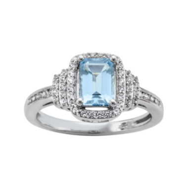 jcpenney.com | Genuine Aquamarine & Lab-Created White Sapphire Ring