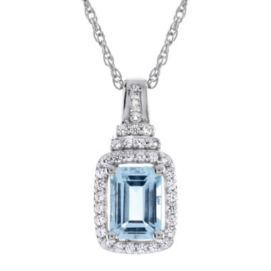 jcpenney.com | Genuine Aquamarine & Lab-Created White Sapphire Pendant