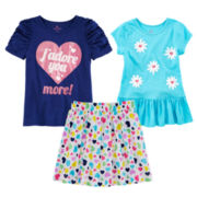 Okie Dokie® Ruched Tee, Tunic Tee or Print Skort – Preschool Girls 4-6x