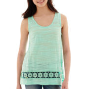 Miss Chievous Crochet-Inset High-Low Tank Top