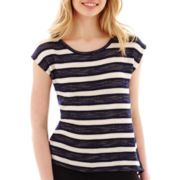 by&by Short-Sleeve Textured Stripe Top