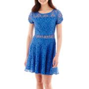 Olsenboye® Short-Sleeve Illusion Lace Dress