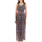 Olsenboye® Sleeveless Floral Print Belted Maxi Dress
