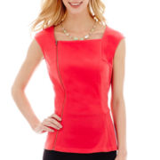 Worthington® Square-Neck Zipper Peplum Top