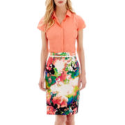 Worthington® Essential Short-Sleeve Shirt or Sateen Pencil Skirt