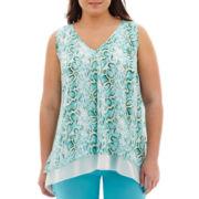 Worthington® Sleeveless Handkerchief-Hem Print Blouse - Plus