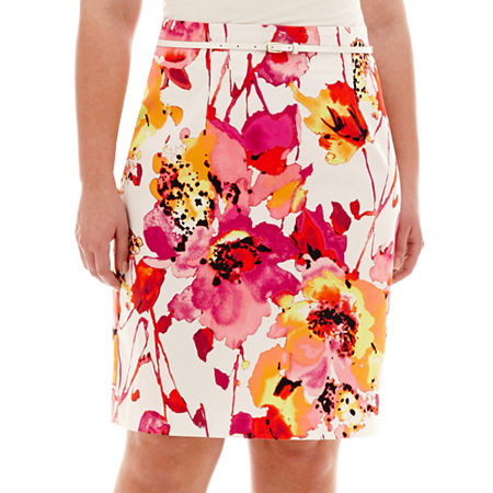 Worthington Sateen Print Pencil Skirt - Plus