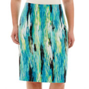 Worthington® Watercolor Print Pencil Skirt - Plus