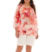 a.n.a® Peasant Blouse or Denim Bermuda Shorts - Plus