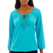 St. John's Bay® 3/4-Sleeve Knit Eyelet Peasant Top