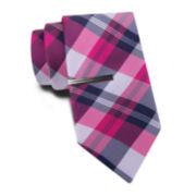 JF J. Ferrar® Multi Madras Tie and Tie Bar Set - Slim
