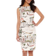 Be by CHETTA B Sleeveless City Scape Print Sheath Dress