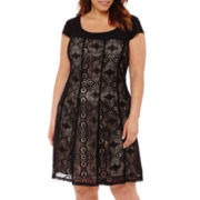R&K Originals® Short-Sleeve Lace Fit-and-Flare Dress - Plus