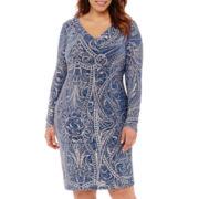 Blu Sage Long-Sleeve Glitter Sheath Dress - Plus
