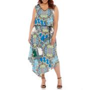 London Style Collection Sleeveless Printed Blouson Maxi Dress - Plus