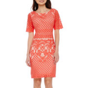 DR Collection Short-Sleeve Lace Sheath Dress - Petite
