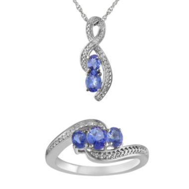 jcpenney.com | Genuine Tanzanite and Diamond Accent Pendant Necklace and Ring Set