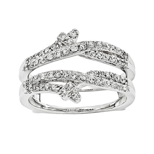1/2 CT. T.W.  Round Diamond 14K White Gold Ring Guard