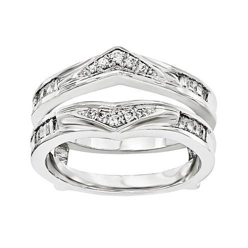 1/5 CT. T.W. Diamond 14K White Gold Ring Guard