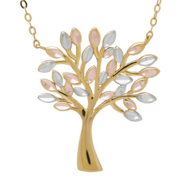 jcpenney.com | 10K Tri-Color Gold Family Tree Pendant Necklace
