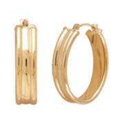 CLOSEOUT! 14K Yellow Gold Cigar Band Hoop Earrings