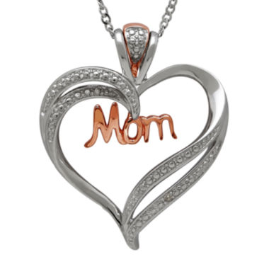 jcpenney.com | Sterling Silver & 14K Rose Gold Diamond Accent Mom Heart Pendant Necklace