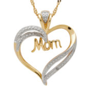 14K Yellow Gold Over Sterling Silver Mom Heart Pendant Necklace