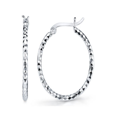 jcpenney.com | Sterling Silver Textured Oval Hoop Earrings