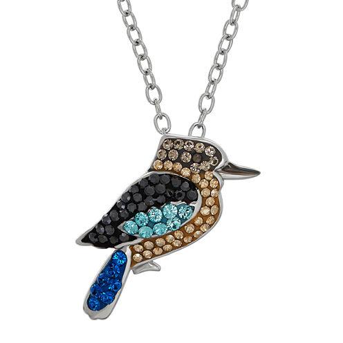 Animal Planet™ Australia Kookaburra Crystal Sterling Silver Pendant Necklace