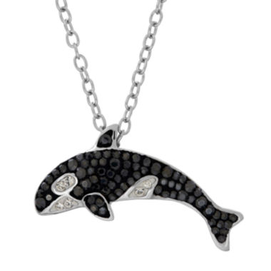 jcpenney.com | Animal Planet™ Australia Orca Whale Crystal Sterling Silver Pendant Necklace