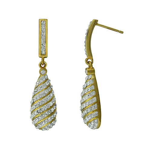 14K Gold Over Silver Crystal Drop Earrings