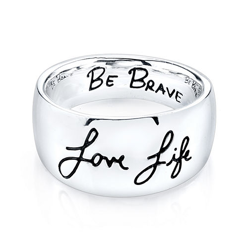 "Inspired Moments™ Sterling Silver ""Love Life, Be Brave"" Ring"