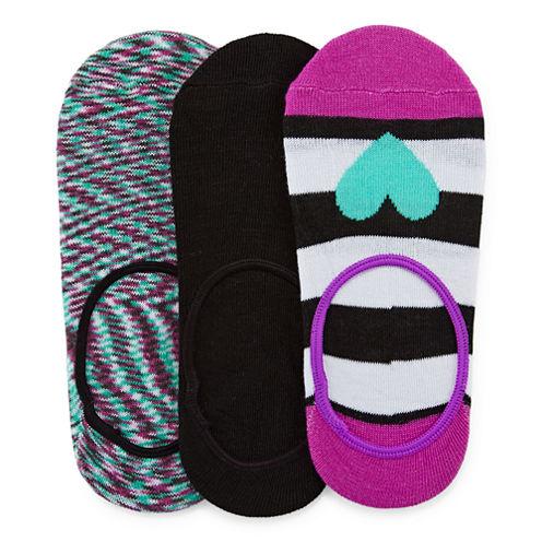 Total Girl® 3-pk. Heart Liner Socks - Girls