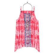 Beautees Tie-Dye Tank Top with Necklace - Girls 7-16