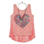 Beautees Lace-Back Graphic Tank Top - Girls 7-16