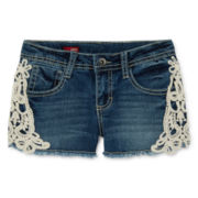 Arizona Frayed Hem and Lace Denim Shorts - Girls 7-16 and Plus