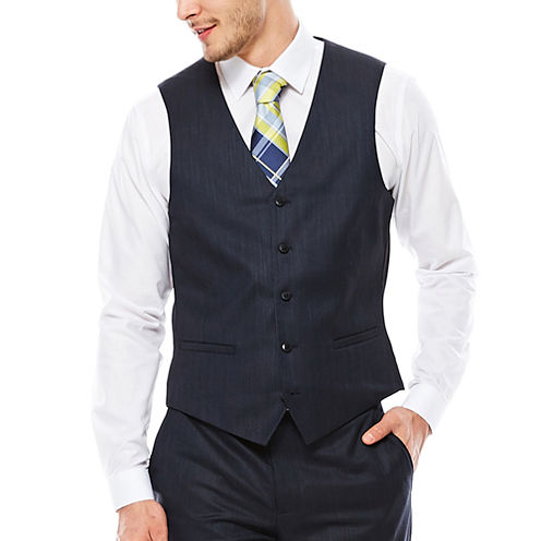 JF J. Ferrar® Navy Varigated Suit Vest - Slim Fit