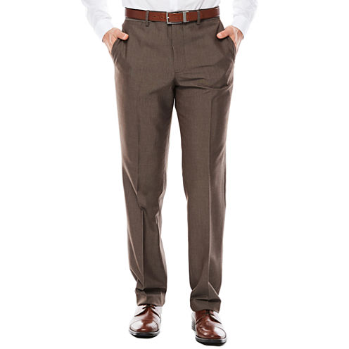 Men's JF J. Ferrar® Taupe End on End Flat-Front Straight-Leg Slim-Fit Pants