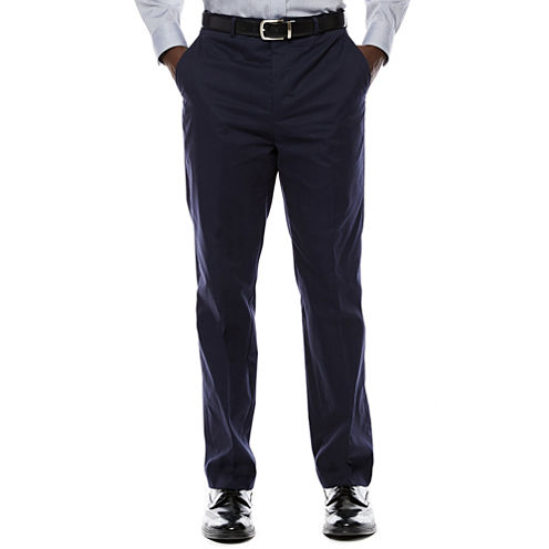 Stafford® Travel Flat-Front Cotton Windowpane Pants
