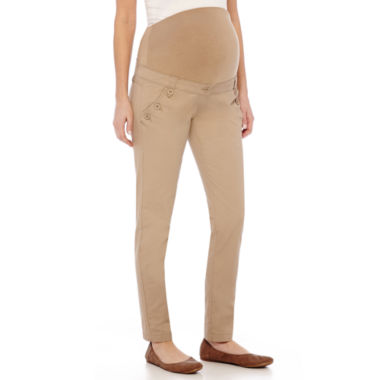 Maternity Overbelly Straight-Leg Twill Pants - JCPenney