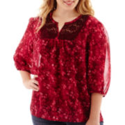 Arizona 3/4-Sleeve Woven Lace Tunic - Juniors Plus