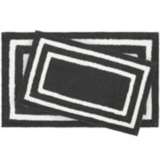 Jean Pierre Double Border Reversible Cotton 2-pc. Bath Mat Set