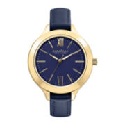 Caravelle New York® Womens Roman Numeral Blue Dial Watch