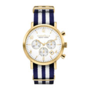 Caravelle New York® Mens Striped Nylon Strap Chronograph Watch