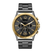 Caravelle New York® Mens Black Ion Gold-Tone Chronograph Watch