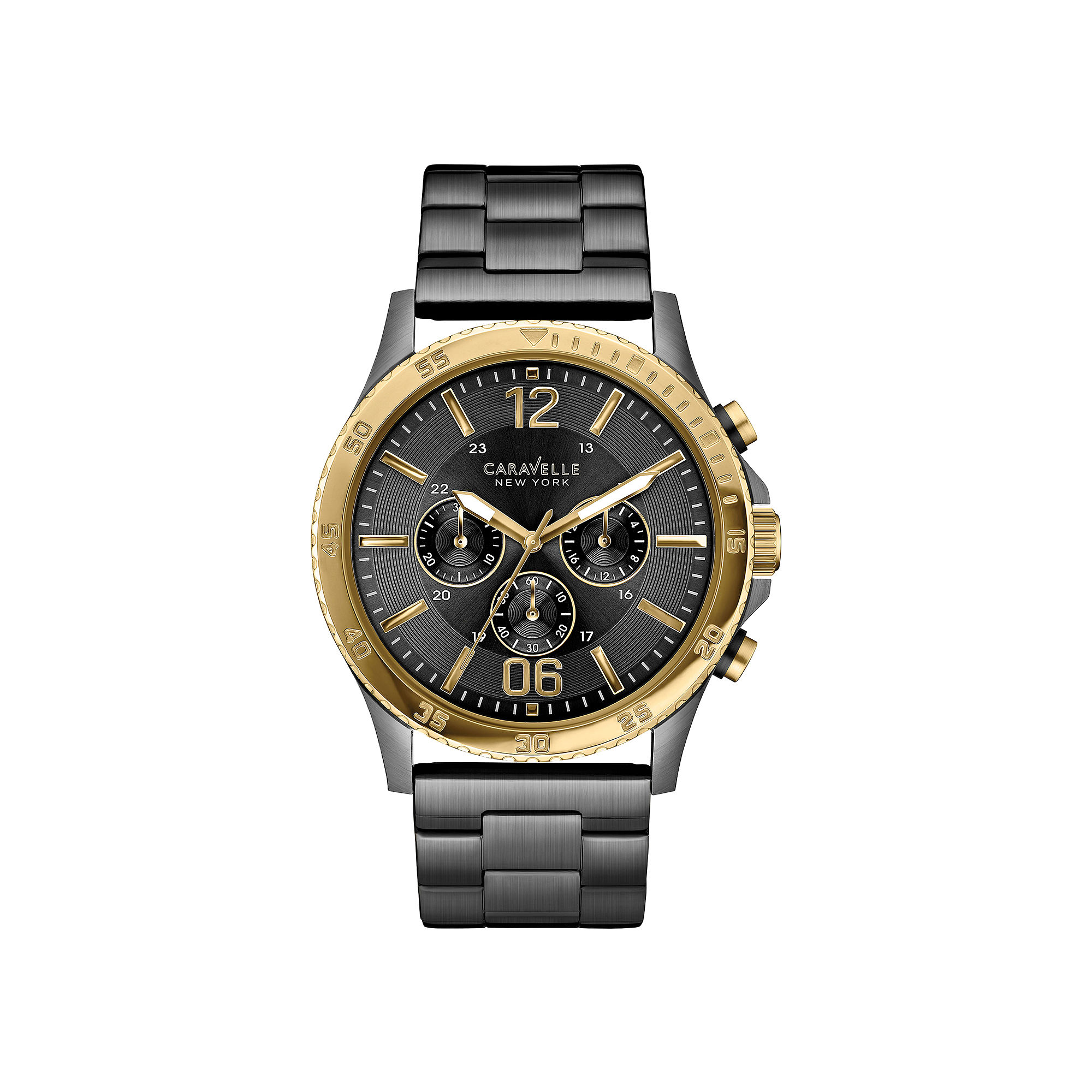 5d2a21ad0 ... Caravelle New York Mens Black Ion Gold-Tone Chronograph Watch. UPC  042429512528