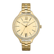 Caravelle New York® Womens Roman Numeral Gold-Tone Dial Watch